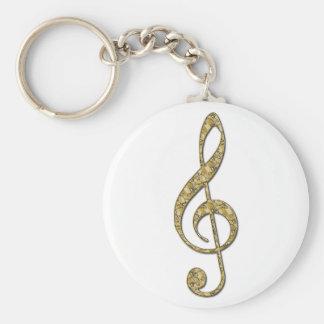 Gold Metal Treble Clef Basic Round Button Keychain