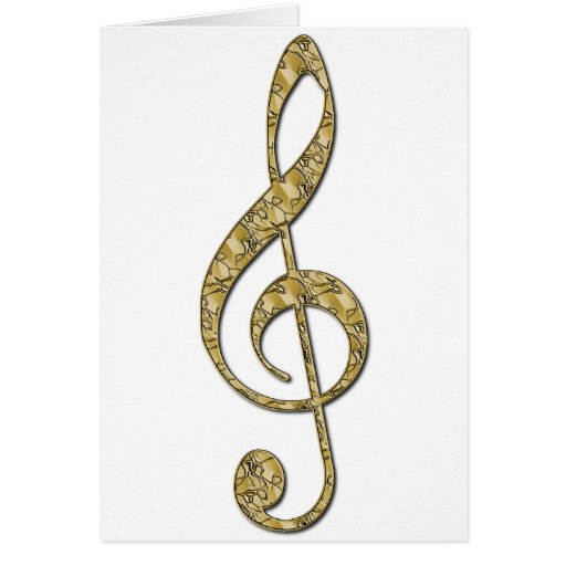 Gold Metal Treble Clef Cards