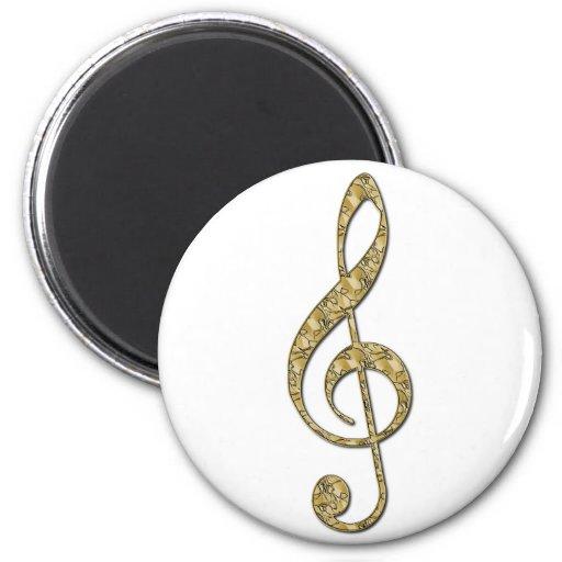 Gold Metal Treble Clef Fridge Magnet