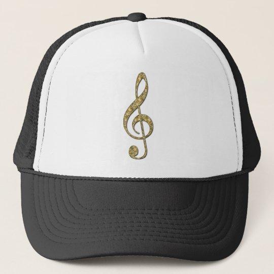 Gold Metal Treble Clef Trucker Hat