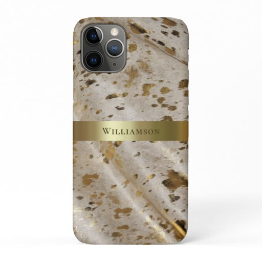 Gold Metallic Acid Wash Digital Leather iPhone 11 Pro Case