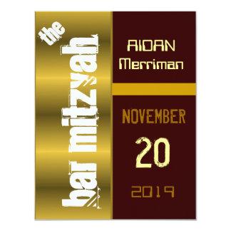 Gold Metallic Bat Bar Mitzvah Card