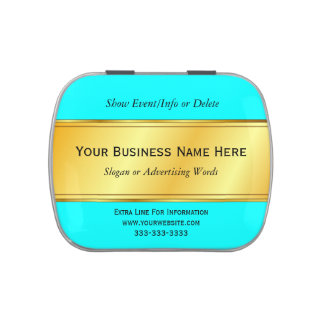 Gold Metallic Border Business Promotion Pick Color Jelly Belly Tins