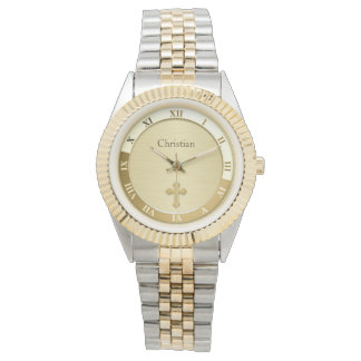 Gold Metallic Cross Name Template Watch
