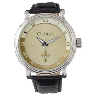 Gold Metallic Cross Name Template Wristwatch