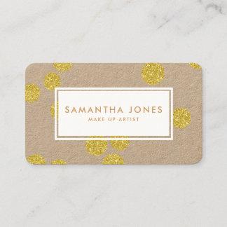 Gold Metallic Dots Classic Modern Make Up Artist Business Card