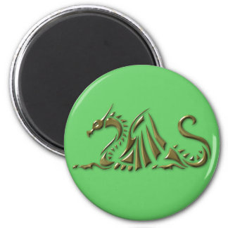 Gold Metallic Dragon 2 Inch Round Magnet