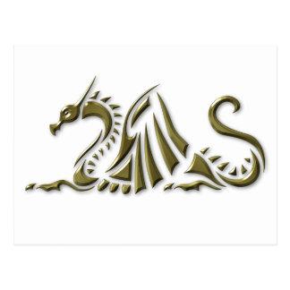Gold Metallic Dragon Postcard
