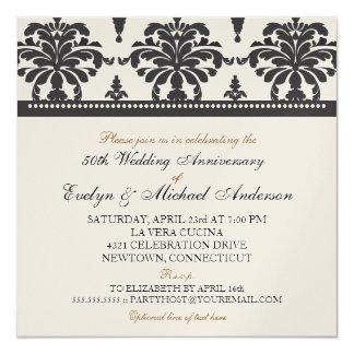 Gold Metallic Elegant 50th Anniversary Party 5.25x5.25 Square Paper Invitation Card