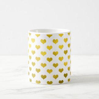 Gold Metallic Faux Foil Hearts Polka Dot Heart Coffee Mug