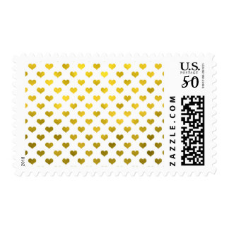 Gold Metallic Faux Foil Hearts Polka Dot Heart Postage