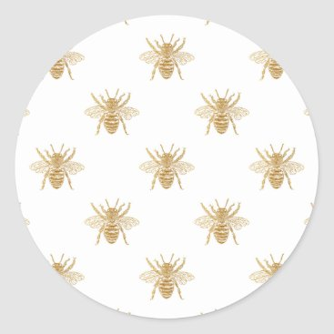 Valentines Themed Gold Metallic Faux Foil Photo-Effect Bees on White Classic Round Sticker