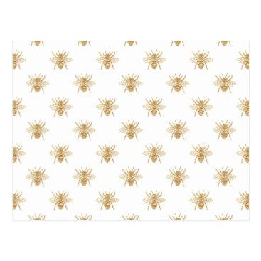 Halloween Themed Gold Metallic Faux Foil Photo-Effect Bees on White Postcard