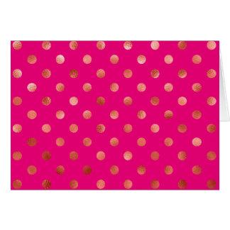 Gold Metallic Faux Foil Polka Dot Pink Background Card