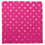 Gold Metallic Faux Foil Polka Dot Pink Background Cloth Napkins