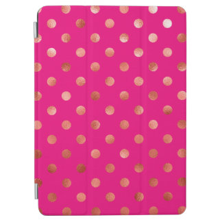 Gold Metallic Faux Foil Polka Dot Pink Background iPad Air Cover