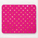 Gold Metallic Faux Foil Polka Dot Pink Background Mouse Pad