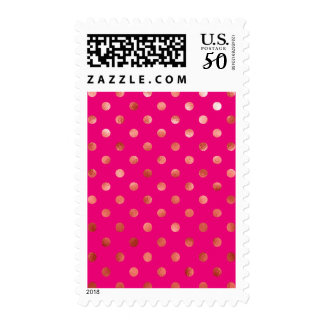 Gold Metallic Faux Foil Polka Dot Pink Background Postage