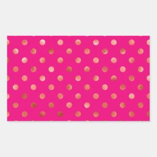 Gold Metallic Faux Foil Polka Dot Pink Background Rectangular Sticker