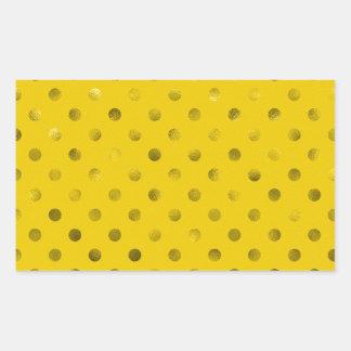 Gold Metallic Faux Foil Polka Dots Background Rectangular Sticker