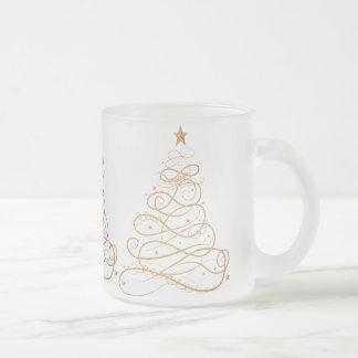 Gold Metallic Filigree Christmas Tree Frosted Glass Coffee Mug