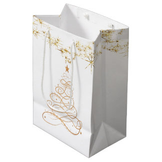 Gold Metallic Filigree Christmas Tree Minimalist Medium Gift Bag