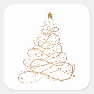 Gold Metallic Filigree Christmas Tree Minimalist Square Sticker
