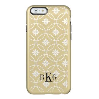 Gold Metallic Floral Geometric Pattern Monogram Incipio Feather Shine iPhone 6 Case