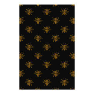 Gold Metallic Foil Bees on Black Flyer