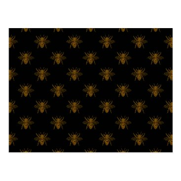 Halloween Themed Gold Metallic Foil Bees on Black Postcard