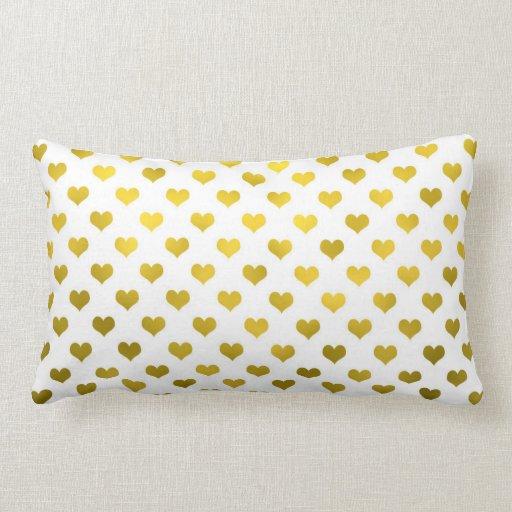 Gold Metallic Foil Hearts White ?Polka Dot? Heart Throw Pillow Zazzle