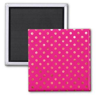 Gold Metallic Foil Polka Dot Hot Pink Background 2 Inch Square Magnet