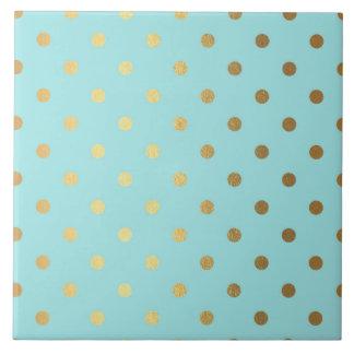 Gold Metallic Foil Polka Dots Teal Aqua Modern Ceramic Tile