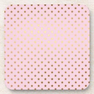Gold Metallic Foil Star Stars Pink Rose Modern Beverage Coaster