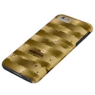Gold Metallic Grunge Stripes Pattern Tough iPhone 6 Plus Case