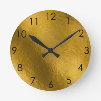 Gold Metallic hammered metal Round Clock