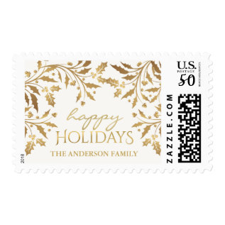 Gold Metallic Holly And Berries Happy Holiday Postage at Zazzle