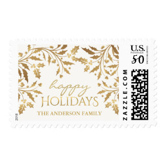 Gold Metallic Holly and Berries Happy Holiday Postage