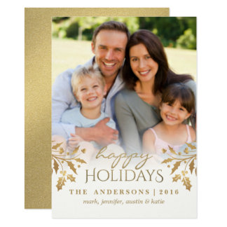 Gold Metallic Holly Berry Holiday Photo Flat Card