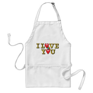 Gold Metallic I Love You with Hearts & Rainbow Adult Apron