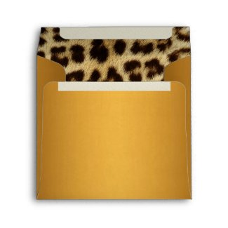 Gold Metallic Leopard Fur Lined Envelope envelope