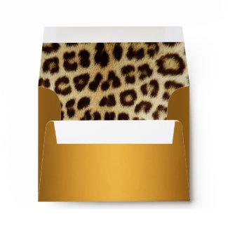 Gold Metallic Leopard Fur Lined NoteCard Envelope envelope