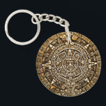 "Gold Metallic Look Aztec Calender Key Chain<br><div class=""desc"">Aztec calender key chain done in a metallic old gold look.  Customize to add any text you want.  Great gift idea for ancient history buffs.</div>"