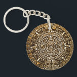 """Gold Metallic Look Aztec Calender Key Chain<br><div class=""""desc"""">Aztec calender key chain done in a metallic old gold look.  Customize to add any text you want.  Great gift idea for ancient history buffs.</div>"""