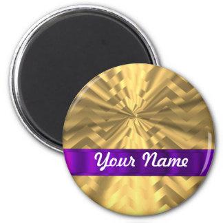 Gold metallic look chevron 2 inch round magnet