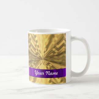 Gold metallic look chevron coffee mug