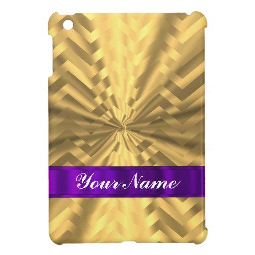 Gold metallic look chevron iPad mini covers