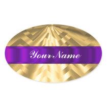 Gold metallic look chevron oval sticker