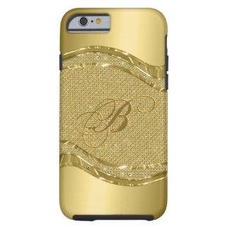 Gold Metallic Look With Diamonds Pattern Tough iPhone 6 Case