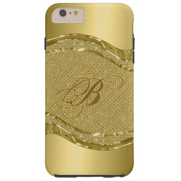 Gold Metallic Look With Diamonds Pattern Tough iPhone 6 Plus Case at Zazzle